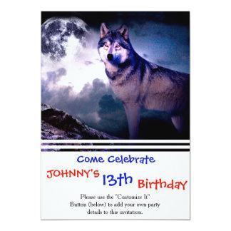 Cartão Lobo da lua - lobo cinzento - lobo selvagem - lobo