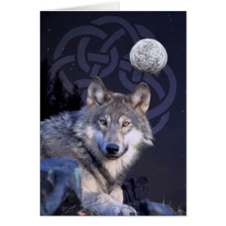 Cartão Lobo da noite com nó celta