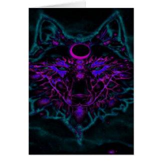 Cartão Lobo de néon Mythical da cerceta