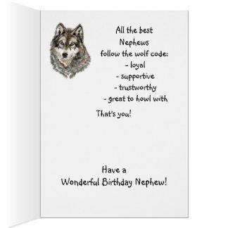 Cartão Lobo do humor do sobrinho do feliz aniversario,
