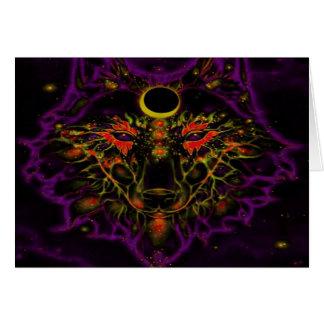 Cartão Lobo roxo de néon Mythical