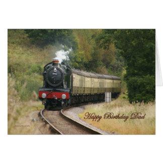 Cartão Locomotiva de vapor do feliz aniversario para o