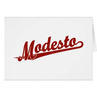 Cartão Logotipo do roteiro de Modesto no vermelho