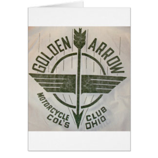 Cartão Logotipo dourado do clube da motocicleta da seta