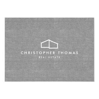 Cartão Logotipo Home moderno em Notecard liso de linho