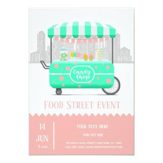Cartão Loja dos doces da rua da comida