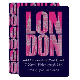 Cartão Londres cor-de-rosa