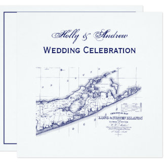 Cartão Long Island o casamento QUADRADO do mapa de
