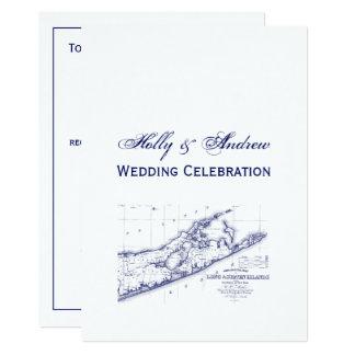 Cartão Long Island o mapa VC de Hamptons que Wedding