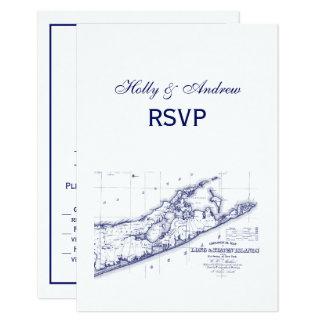 Cartão Long Island o mapa VC RSVP de Hamptons