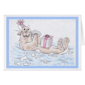 Cartão Lontra de mar do aniversário