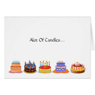Cartão Lotes de lotes das velas de comemorar o bolo de
