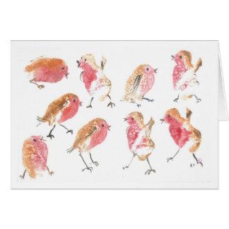 Cartão Lotes de robins do Natal