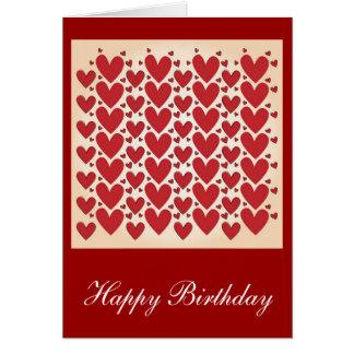 """Cartão """"Lotes design do aniversário dos corações"""""""