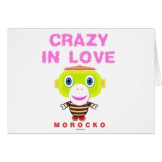 Cartão Louco no Macaco-Morocko amor-Bonito