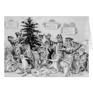 Cartão Louis Wain - gatos que comemoram o Natal