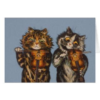 Cartão Louis Wain - violinistas do gato - arte