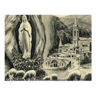 Cartão Lourdes do vintage da réplica, peregrinação