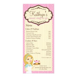 Cartão louro 3 da cremalheira do menu do cupcake 10.16 x 22.86cm panfleto