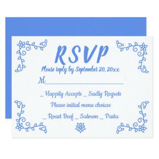 Cartão Louro azul floral da flor do casamento do