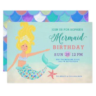 Cartão Louro com festa de aniversário justa da sereia da