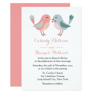 Cartão Lovebirds cor-de-rosa & pássaros azuis do