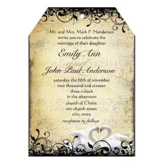 Cartão Lovebirds cortados da cisne que Wedding