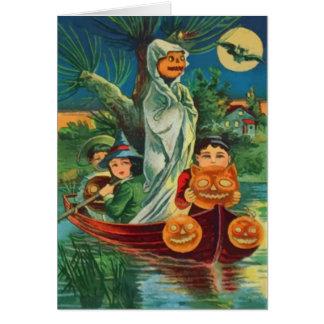 Cartão Lua cheia da coruja da lanterna de Jack O do