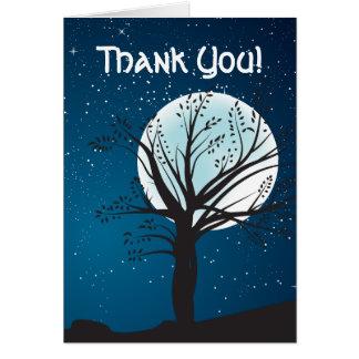 Cartão Lua cheia e estrelas que Wedding o obrigado você