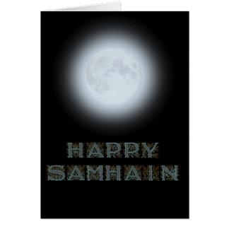 Cartão Lua cheia feliz de Samhain