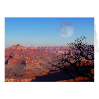 Cartão Lua cheia sobre o Grand Canyon