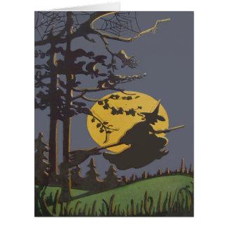 Cartão Lua cheia Spiderweb da silhueta da bruxa do vôo
