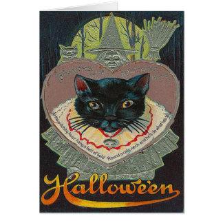 Cartão Lua cheia Witching da hora da bruxa do gato preto