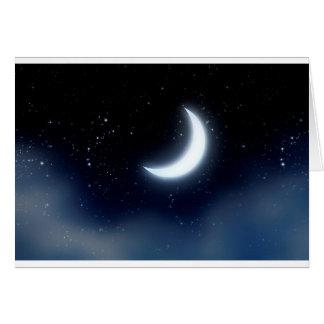 Cartão Lua crescente sobre Sky2 estrelado