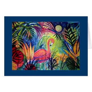 Cartão Lua da meia-noite do flamingo de Sanibel