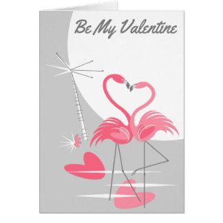 Cartão Lua do amor do flamingo a grande seja meus