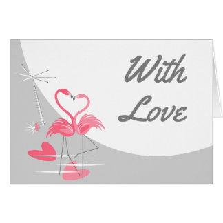 Cartão Lua do amor do flamingo grande com paisagem do