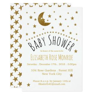 Cartão Lua do ouro e chá de fraldas das estrelas