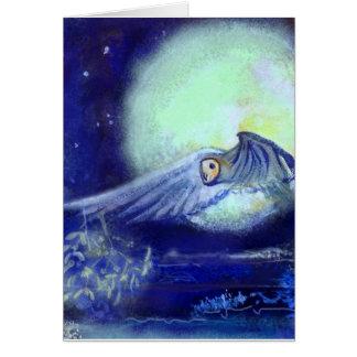 Cartão Lua e mar do visco da coruja