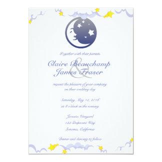 Cartão Lua, estrelas e nuvens Wedding