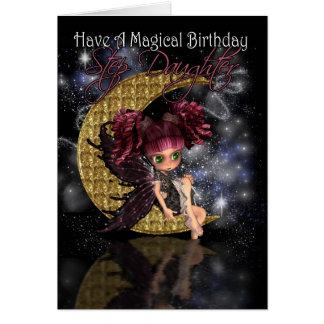 Cartão Lua pequena bonito fa do aniversário mágico da