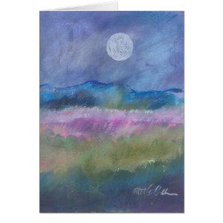 Cartão Lua sobre o campo do deserto