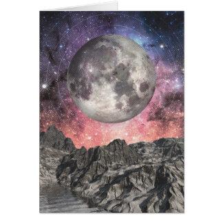 Cartão Lua sobre o lago mountain