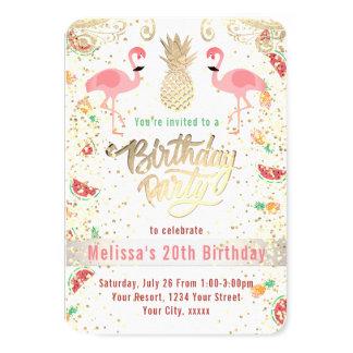 Cartão luau tropical do aniversário do flamingo