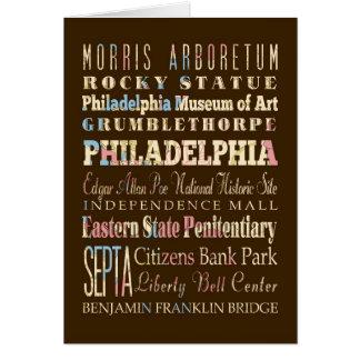 Cartão Lugares famosos de Philadelphfia, Pensilvânia