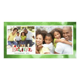 Cartão Lunático ACREDITE, Bokeh verde - 2 fotos