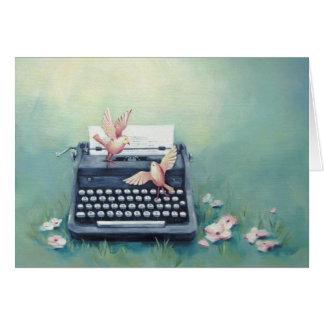 Cartão lunático da arte da máquina de escrever &