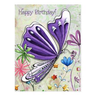 Cartão lunático da borboleta do feliz aniversario