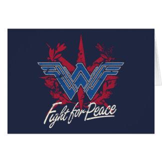 Cartão Luta da mulher maravilha para o símbolo de paz