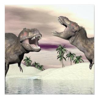 Cartão Luta do dinossauro do rex do tiranossauro - 3D